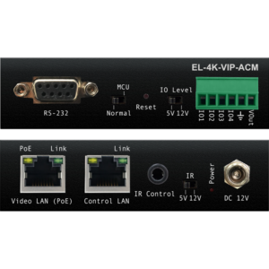 The ELAN Premium Video over IP (VIP) platform distributes HDMI video over a 1GB Network switch using visually lossless technology. The EL-4K-VIP-ACM Advanced Control Module integrates 4K Video Over IP into the ELAN smart home control and automation system. ELAN drivers built into each product's firmware simplify product installation and negate the need for an understanding of complex network infrastructures. The EL-4K-VIP-ACM includes a web interface module for control and configuration of the system when not used with the ELAN home control system that features 'Drag & Drop' source selection with video preview and independent routing of IR, RS-232, USB / KVM, Audio, and Video.